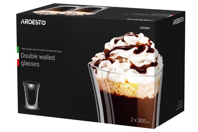 Набор чашек Ardesto с двойными стенками AR2630G
