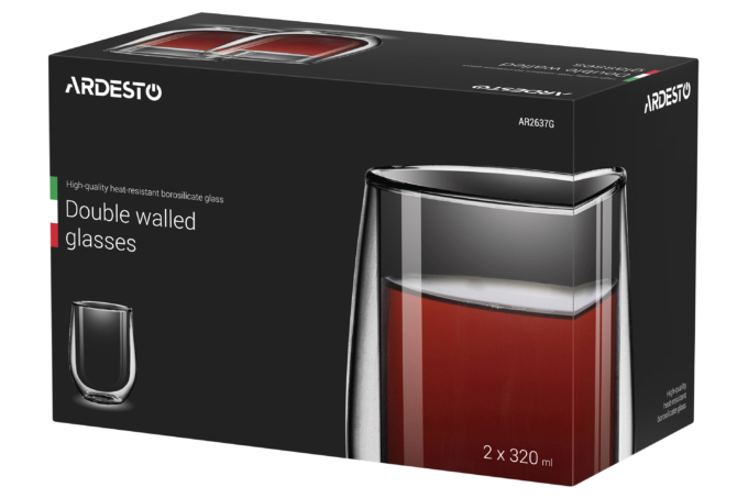 Cups set Ardesto with double walls AR2637G