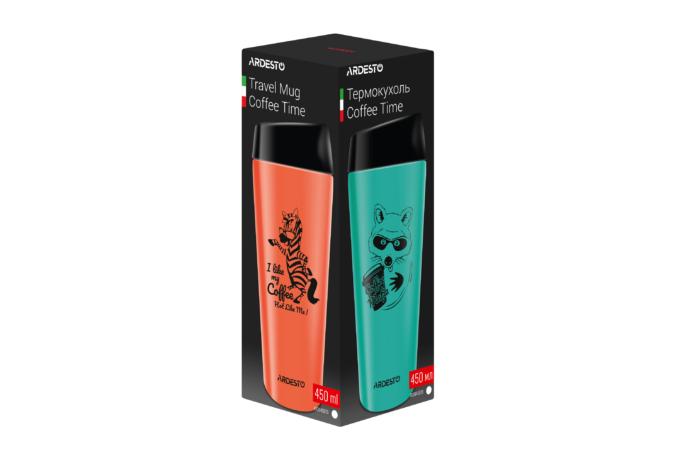 Термочашка Ardesto Coffee time (Raccon) 450 мл AR2645DTB