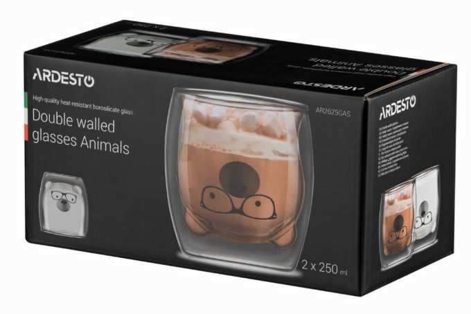 Набор чашек Ardesto Animals с двойными стенками AR2625GAS